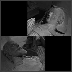 3 - Bayeux, Muse d'Art et d'Histoire Baron Grard - MAHB, Pierre Lafaye - Gisants du seigneur de Ryes et de son pouse - 17me sicle - Dtails (melina1965) Tags: normandie calvados bayeux octobre october 2016 nikon d80 mosaque mosaques mosaic mosaics collages collage noiretblanc blackandwhite bw sculpture sculptures grave tombe tombes graves