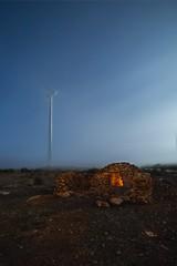 A SHELTER IN THE MIST (Der_Golem_) Tags: luzcalida padul niebla 2016 abandonado aerogeneradores campo linterna granada cielo gel ventiladores nocturna largaexposicion refugio