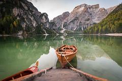 11 (Hugo Carvoeira) Tags: green wood wooden boat lake lago pragser wildsee braies reflection mountain morning sunrise paradise italy italia