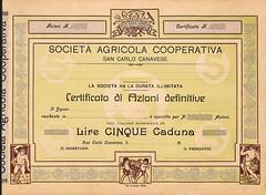 AGRICOLA COOP. SAN CARLO CANAVESE SOC. (scripofilia) Tags: agricola azioni canavese carlo cooperativa sancarlo sancarlocanavese societàagricola