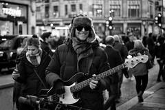 Cool Bassist (Foto John) Tags: leicam leicam240 leica leicamtyp240 rangefinder summicronm50mm2iv blackwhite blackandwhite blackandwhitethatsright monochrome streetphotography people streetperformer man musician bassist fender fenderjazzbass