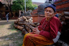 The Lady God forgot (Natalie.Imagegallery) Tags: wood old blue nepal red white colour yellow lady photography photo asia die gallery image pixie kathmandu retired pensioner travelphotography retiredhome natalietonkingimagegallery