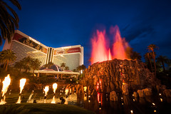 The Mirage Volcano (Karl Erik Vasslag Photography) Tags: show city nightphotography urban usa building skyline architecture night fire volcano hotel unitedstates lasvegas outdoor flames nevada wideangle casino burning thestrip nightlife bluehour themirage lasvegasblvd lasvegasskyline