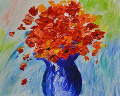 Variations on a Theme - Take 2 (BKHagar *Kim*) Tags: flowers blue floral painting paint acrylic canvas vase bouquet artday variationonatheme bkhagar