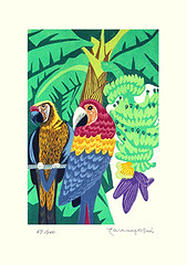 Banana, scarlet macaw and unknown parrot (Japanese Flower and Bird Art) Tags: flower bird art japan modern scarlet print japanese parrot banana ito linocut macaw musa ara macao musaceae psittacidae takayoshi readercollection