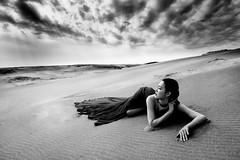 Existence to heal dryness ( H.Yamaguchi #176 ) (HarQ Photography) Tags: portrait bw monochrome desert dune fujifilm xt1 stealingshadows bestportraitsaoi elitegalleryaoi xf1655mmf28rlmwr