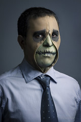 The Man from the road Portrait (Cris Valencia) Tags: portrait halloween skull costume zombie tie zipper halloweenmakeup tamron70200 canon7d