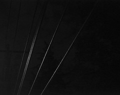 Wires (John Bense) Tags: blackandwhite monochrome lines night wires telephonewires electricwires