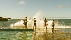 Moonrise Kingdom (Mario Lameiras) Tags: ocean santa sea playing portugal kids fun happy jump jumping waves maria wave kingdom moonrise azores aores
