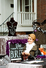 Burlesque Knitter (Georgie_grrl) Tags: toronto ontario smile knitting sunny bust pentaxk1000 kensingtonmarket knitter ohmy pedestriansunday takumar125135mm october2015 thetorontoschoolofburlesque handcuffpasties
