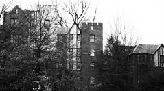 Turrets (John Bense) Tags: trees houses blackandwhite monochrome washingtondc outdoor neighborhood residential