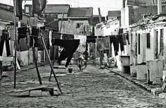 Valencia - Casas de Gitanos (Eddy Allart) Tags: houses film analog spain kodak trix bn espana clotheslines gypsy washing spanje dwellings sl35 rolleflex