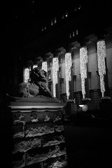 Winter Sentinel (hjl) Tags: christmas winter blackandwhite holiday canada night lights quebec montreal lion sunlifebuilding dorchestersquare
