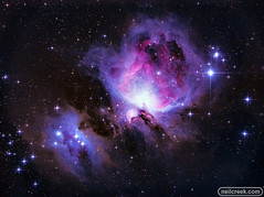 The Great Orion Nebula - M42 (Reprocessed) (neilcreek) Tags: nebula space orion m42 cosmos universe nature astro astrophotogrpahy purple pink stars constellation beautiful astronomy cosmic cluster nebulae orionnebula runningman