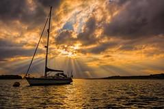 Back to Bosham (James Waghorn) Tags: sun sigma1750f28exdcoshsm d7100 water reflections boat bosham clouds autumn sea sunrays england mooring gold