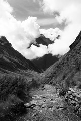 in the clouds (sophs123.) Tags: clouds nubes cuzco cusco inca trail camino peru hike hiking nature landscape south america latin latinoamerica sudamerica travel blackandwhite bw path canon canon400d contrast mountains