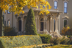 Falling in Love, Victorian Home (cobalt123) Tags: 2015 elgin fall illinois midwest midwestern november victorian victorianhome entrance fallcolors frontporch historic porch us