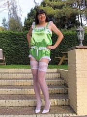Green satin teddy (Paula Satijn) Tags: sexy hot girl babe lady tgirl satin silk silky shiny teddy playsuit lingerie lace garden white stockings stockingtops legs pumps heels transvestite