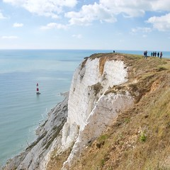 Chalk Cliffs at Beachy Head (Stephen_Hartley) Tags: beachyhead landscape seascape lighthouse squareformat cliff chalkcliffs southdownsnationalpark southdownsway eastbourne eastsussex englishchannel
