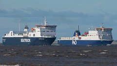 'Seatruck Pace' and 'Norbay'. (PRA Images) Tags: seatruckpace imo9350678 rorocargoship norbay imo9056595 roropassengership ships shipping therivermersey newbrighton