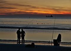 Fishermen at the water's edge (Marc ALMECIJA) Tags: fisherman pcheur eau water ocean sea sun sunset sunrise