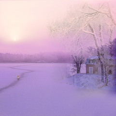 Cold fantasy (BirgittaSjostedt- away for a while.) Tags: wnter cold snow ice lake landscape creation paint painted fantasy house tree outdoor scene serene sweden birgittasjostedt magicunicornverybest ie
