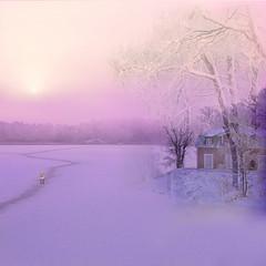 Cold fantasy (BirgittaSjostedt) Tags: wnter cold snow ice lake landscape creation paint painted fantasy house tree outdoor scene serene sweden birgittasjostedt magicunicornverybest ie