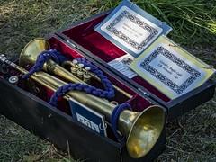 An American Civil War bugler's kit at a 2013 Boy Scout encampment near Springfield, OR (mharrsch) Tags: livinghistory civilwar americancivilwar military bugle 19thcenturyce soldier history springfield oregon mharrsch
