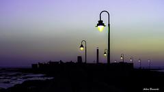 Castillo de San Sebastian last light ... (acbrennecke) Tags: achimbrennecke castillodesansebastian cadiz silhouette night nikon5500 nikon lastlight laternen purple sunset ciudad seascape sea