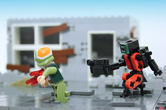 Hiding something... (Devid VII) Tags: lego moc military mech devid vii mecha minifig minifigs war troopers crew wars trooper detail details drone mini rebel district drones soldier diorama street devidvii
