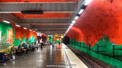 Stockholm, Sweden: Solna Centrum Station, Line T-11 (Blue) (nabobswims) Tags: hdr highdynamicrange lightroom linet11 metro nabob nabobswims photomatix se sl solnacentrum sonya6000 station stockholm subway sweden tbana tunnelbana ubahn stockholmiän