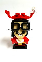 Captain Hook-Nerdly (Roy of Floremheim) Tags: lego moc creation build royoffloremheim nerdvember 2016 challenge bricknerd competition captainhook peterpan pirates characterbuild figure hat glasses mustache hair vest robe red feathers