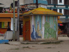 Graffitti en local comercial. Copacabana, Bolivia. (Camila Rojas Esparza) Tags: trip bolivia nightshot altura lagotiticaca clouds sky pic water photo copacabana lago bluewater people viaje travel gato llama titicaca