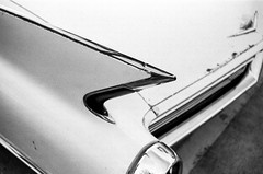 (laura_rivera) Tags: texas arlington carshow nikkormat 400 tmax kodak nikkorlens 35mmlens ft2 nikon 35mmfilm film white black tailfin cadillac car
