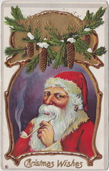 "Antique CHRISTMAS SANTA c.1908 BREAKTIME a HANDSOME RED SUITED SANTA WHITE FUR TRIM Smoking his pipe Great RICH Color Embossed Publisher UNK Card Series 230 E (UpNorth Memories - Donald (Don) Harrison) Tags: christmas santa jesus vintage antique postcard rppc ""don harrison"" ""upnorth memories"" upnorth memories upnorthmemories michigan history heritage travel tourism ""michigan roadside restaurants cafes motels hotels ""tourist stops"" ""travel trailer parks"" campgrounds cottages cabins ""roadside entertainment"" ""natural wonders"" attractions usa puremichigan "" ""railroad ferry"" ""car excursion"