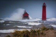 Where did that pier go?  (Explore) (Dr. Farnsworth) Tags: pier storm red lighthouse catwalk whitecaps huge waves blowing sand sleet snow tripod grandhaven mi michigan fall november2016