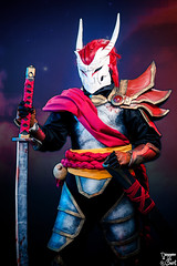 Yasuo Bloodmoon. (Bart) Tags: canonef70200mmf4lisusm ef70200mmf4lisusm 70200mm f4l is usm f4 l toulouse game show tgs toulousegameshow cosplay cosplayer cosplayeuse 5dmark2 5d mark2 5dmarkii canon eos cleavage sexy skirt dress pantyhose princess legs charming cute pinup beauty woman girl women costumade comics comic books comicbook modele model bokeh costume boobs breast yasuo bloodmoon leagueoflegends league legends