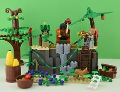 LEGO Black friday day ! (Alex THELEGOFAN) Tags: lego legography minifigures minifigure minifig minifigs minifigurine minifigurines island robinson crusoe friday black monkey palm tree banana parrot rock green plant castaway bones dog apple food fruit