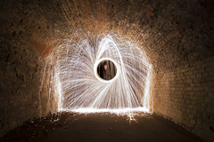 Steel Wool Archway (AndyNeal) Tags: longexposure lightpainting steel wool archway bridge tunnel brickwork wire