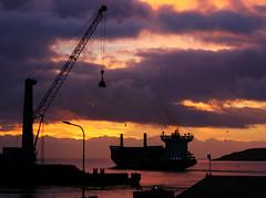 Morning view from the office (Jgvan Horn) Tags: faroeislands morning sunrise trshavn port ship harbour silhouet crane island froyar skip maritime atlantic shore streymoy