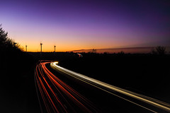 A14 at Kelmarsh (timnutt) Tags: countryside landscape sunset dusk road harborough rural fall traffic lighttrail