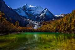 Sound of Nature (Ping...) Tags:        shangrila plateau snow mountain reflection light autumn foliage china landscape mountainside foothill lake serene