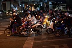 Bangkok Nights (8mr) Tags: bangkok low light night time moped tuktuk motorcycle bikes biking bikers helmets traffic stop sign street road rage waiting red lights raw amateur authentic genuine realistic jam real congestion wait patience wheels zoom vroom racing race urban