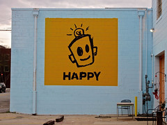 Happy, Augusta, GA (Robby Virus) Tags: augusta georgia happy painting wall art leonard zimmerman porkchop artist robot