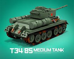T-34/85_C (bijanz) Tags: army tank lego russia military ww2 russian worldwar t34 t3485 su85 su100 legotank