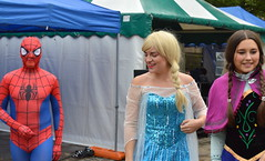 Snow Princess an Spiderman at Summer Wonderland, Preston (Tony Worrall) Tags: county uk england fun costume stream tour open place northwest unitedkingdom country north super visit location lancashire sing area preston superheroes northern update dressed attraction lancs snowprincess flagmarket summerwonderland welovethenorth 2015tonyworrall
