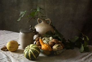 Still Life with Decorative Pumpkins and Beer Mug