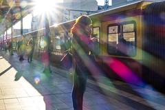 solar station (ToDoe) Tags: woman sun berlin station backlight train solar bahnhof lensflare frau sbahn sonne contrejour gegenlicht savignyplatz