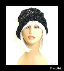 Black Crochet Hat Womens Hat, Womens Summer Hat Women, Crochet Beanie Hat, Hemp Cord Hat, Black Hat, Boho Hat, OMBRETTA (strawberrycouture) Tags: summer black hat cord strawberry crochet womens beanie boho couture cloche hemp