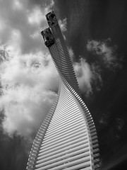 Reach for the sky, Goodwood Festival of Speed 2015 (Hammerhead27) Tags: sky blackandwhite bw sculpture tower car clouds mono mazda fos goodwood feature festivalofspeed 2015